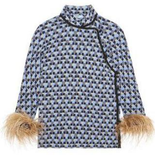 Prada Feather-trimmed printed crepe de chine top