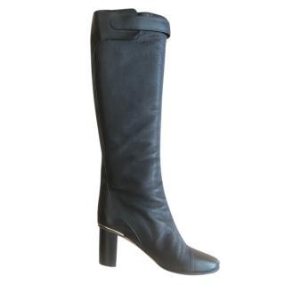 Chloe Knee High Black Leather Boots.