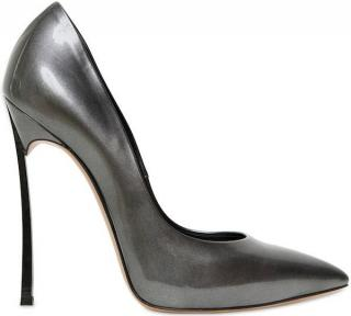 Casadei grey patent blade stilettos