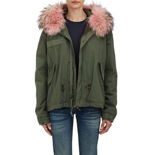 Mr & Mrs Italy Army Cotton Canvas Racoon Fur Trim Parka