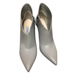 Prada Grey Leather Booties