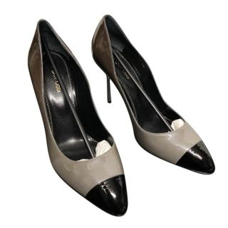Sergio Rossi patent colour block pumps