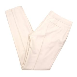Mulberry Wool & Cashmere-blend Cream Slim Trousers
