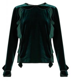 Rochas ruffled green velvet top
