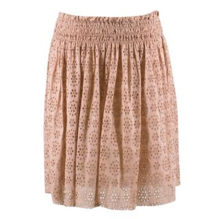 Zadig & Voltaire Cotton Broderie Nude Pink Skirt
