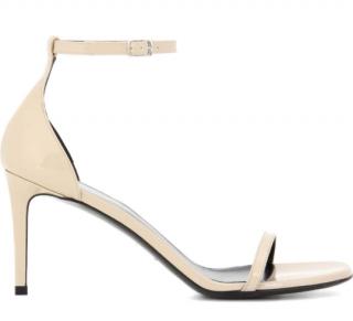 Saint Laurent Jane 80 Ankle Strap Nude Sandals