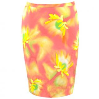 Gianni Versace Abstract Floral Print Pencil Skirt