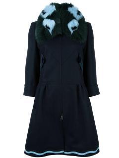 Fendi fox fur collar wool, silk & cashmere coat