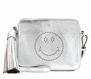 Anya Hindmarch metallic silver smiley messenger bag