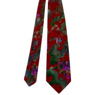 Leonard Paris Bright Red Floral Tie