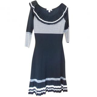 Temperley London Navy and Ivory Knit Dress