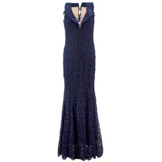 Bespoke Navy Lace & Silk Evening Gown
