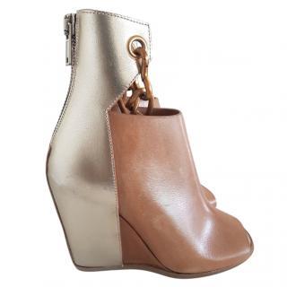 Rick Owens peep toe chain boots UK 3 EU 36