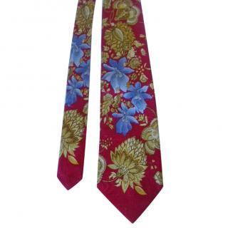 Leonard Paris Red Floral Tie
