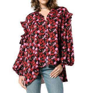 Magda Butrym Forli Cold Shoulder Floral Silk Blouse