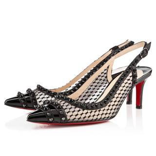 Christian Louboutin Manovra Spiked Lace Slingback Sandals