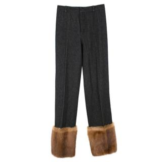 Dolce & Gabbana Dark Grey Wool-blend Fur Cuffed Trousers
