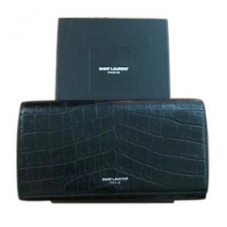 Saint Laurent Black Croc Embossed Zip Around Wallet