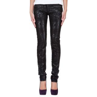 Pierre Balmain snake print moto skinny jeans