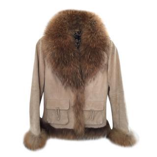 Oakwood fox fur trim suede jacket