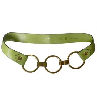 Yves Saint Laurent Vintage Lime Green Metal Circle Hardware Belt