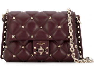 Valentino Garavani Maroon Candystud Top Handle Bag