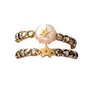 Dior gold tone pearl J�adior rings