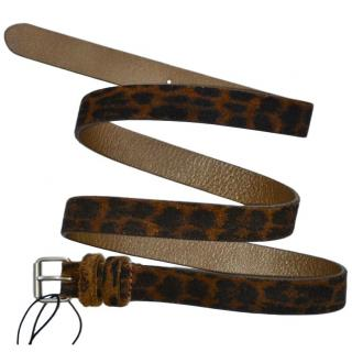 Saint Laurent leopard print suede belt