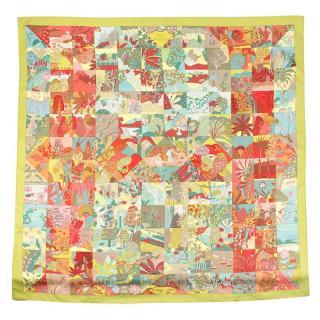 Hermes Silk Tiled Garden Printed Scarf