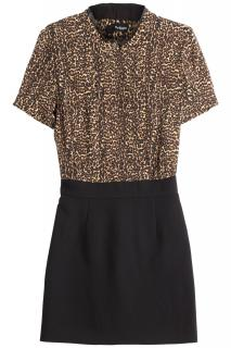 The Kooples silk & leather leopard print dress
