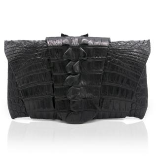 Balmain Black Crocodile Wrap Around Clutch