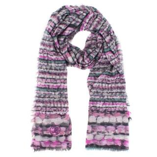 Chanel Purple Frayed Edge Wool Scarf