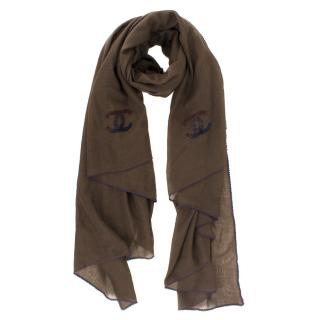 Chanel Cashmere Embroidered Scalloped Trim Brown Scarf