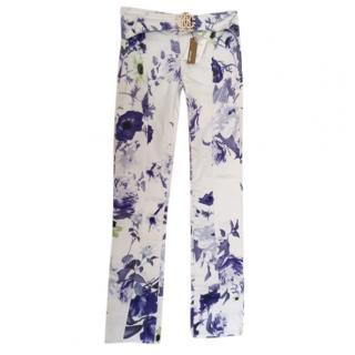 Roberto Cavalli floral print white & purple pants