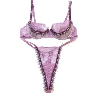Nina Ricci Lilac Lace Underwired Bra & High Rise String Set