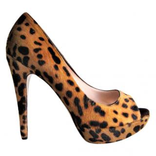 Miu Miu Leopard Print calfskin open toe pumps