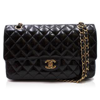 Chanel Black Glitter Patent Leather Medium Double Flap Bag