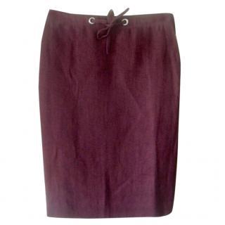 Hermes Bordeaux Linen Skirt