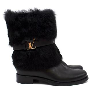 Louis Vuitton Leather Fur Trimmed Boots