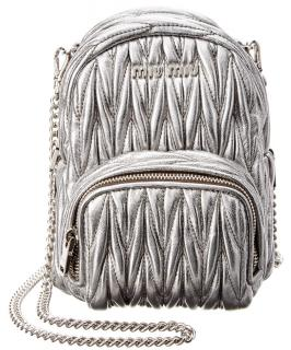 Miu Miu Matelasse Silver Leather Backpack