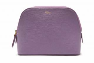 Mulberry Cross Grain Leather Cosmetic Lilac Pouch