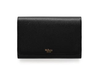Mulberry Medium French Classic Grain Black Continental Purse