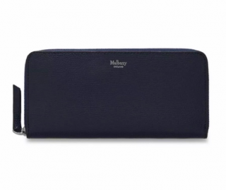 Mulberry Navy Zip Around Cross Grained Leather Purse