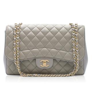 Chanel Grey Quilted Leather Large Classic Flap Bag
