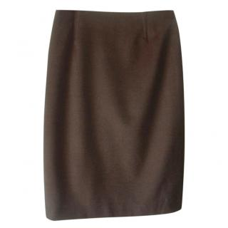 Mugler Khaki Green Wool Blend Skirt