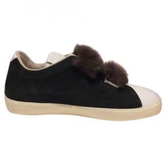 Leather Crown faux fur trim trainers