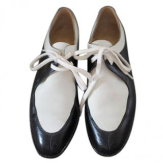 Hermes Black & White Vintage Leather Derbies