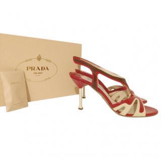 Prada Patent Leather Flame Slingback Sandals