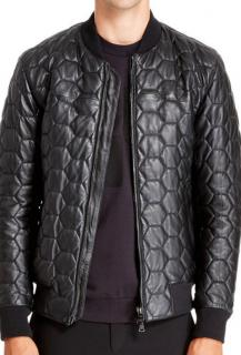 DKNY Quilted Leather Bomber Jacket