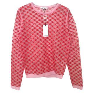 Carven Pink and Red Beautiful Intricate Stitch Sweater Jumper